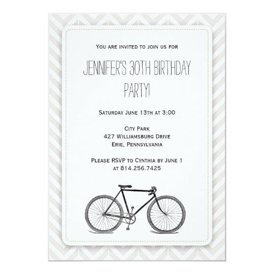 Elegant Grey Chevron Vintage Bicycle Birthday Card