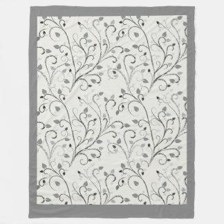 Elegant grey contrast leaf pattern fleece blanket