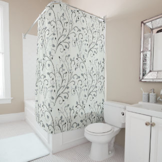 Elegant grey contrast leaf pattern shower curtain