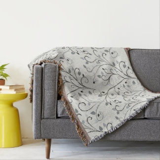 Elegant grey contrast leaf pattern throw blanket