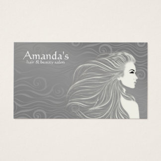 Elegant Grey Curves Hair & Beauty Salon Card