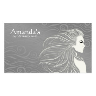 Elegant Grey Curves Hair & Beauty Salon Card Pack Of Standard Business Cards