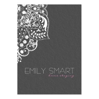 Elegant Grey Damasks White Vintage Lace Pack Of Chubby Business Cards