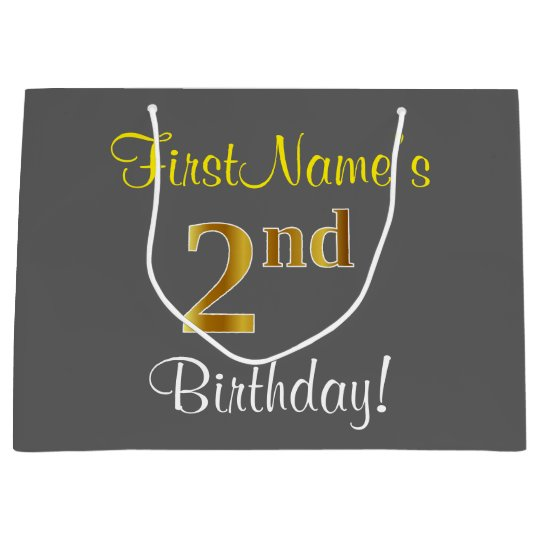 Elegant Grey Faux Gold 2nd Birthday Custom Name Large Gift Bag