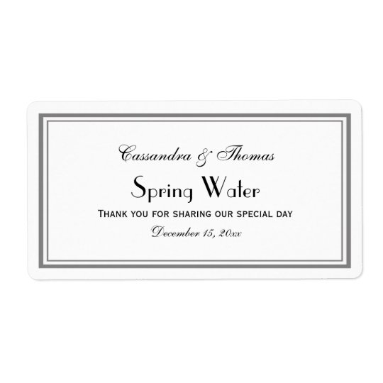 Elegant Grey Framed H Water Bottle Label