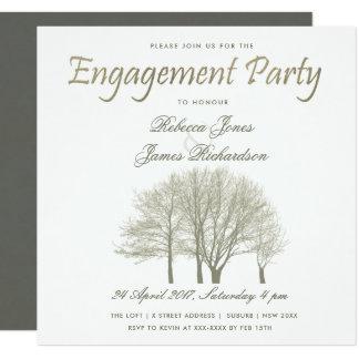 ELEGANT GREY GOLD FALL AUTUMN TREE ENGAGEMENT CARD