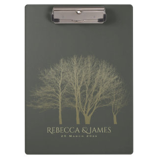 ELEGANT GREY GOLD FALL AUTUMN TREES MONOGRAM CLIPBOARDS