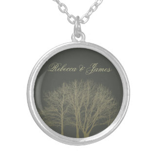 ELEGANT GREY GOLD FALL AUTUMN TREES MONOGRAM SILVER PLATED NECKLACE