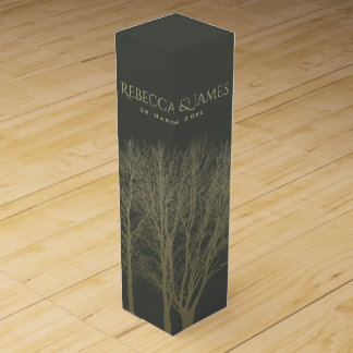 ELEGANT GREY GOLD FALL AUTUMN TREES MONOGRAM WINE BOTTLE BOXES