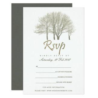 ELEGANT GREY GOLD FALL AUTUMN TREES RSVP CARD