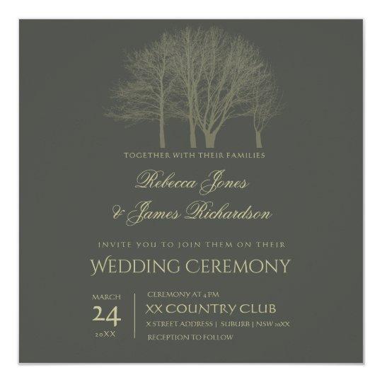 ELEGANT GREY GOLD FALL AUTUMN TREES wedding card