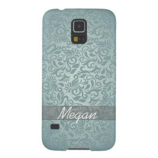 Elegant Grey/Green Damask Monogram Case For Galaxy S5
