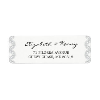 Elegant Grey Lace Return Address Label