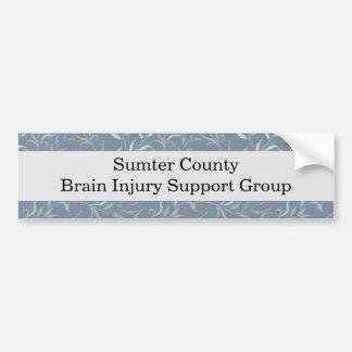 Elegant Grey Leaves on Vintage Blue Bumper Sticker