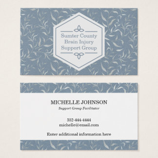 Elegant Grey Leaves on Vintage Blue Business Card