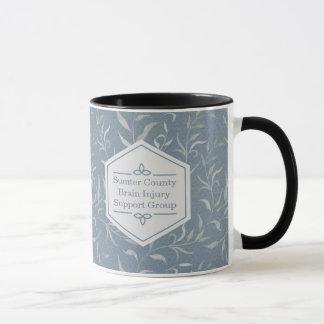 Elegant Grey Leaves on Vintage Blue Mug