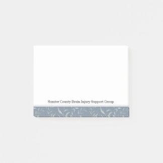 Elegant Grey Leaves on Vintage Blue Post-it Notes