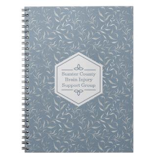 Elegant Grey Leaves on Vintage Blue Spiral Notebook