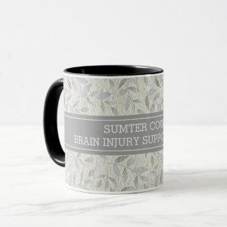 Elegant Grey Leaves Personalised Support Group Mug