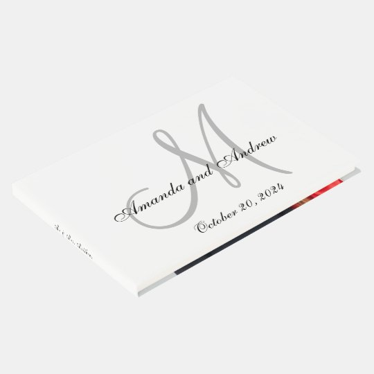 Elegant Grey Monogram with Photo Wedding Guest Book