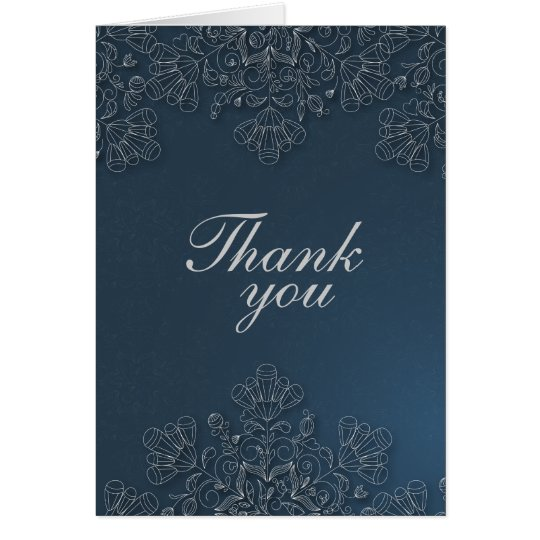 Elegant grey navy floral swirls wedding thank you