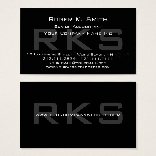 Elegant Grey on Black Monogram Classic Business Card