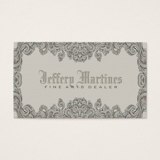 Elegant Grey Ornate Victorian Swirls Frame Business Card