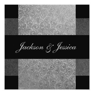 Elegant Grey Paisley Engagement Party 13 Cm X 13 Cm Square Invitation Card