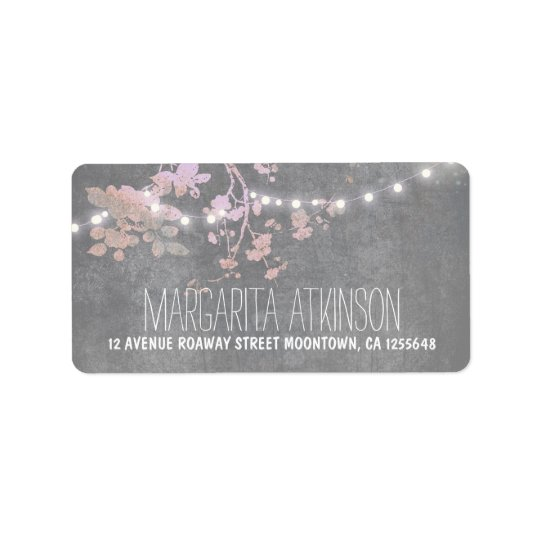 elegant grey pink string lights address labels