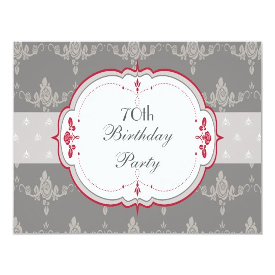 Elegant Grey & Red Roses 70th Birthday Card