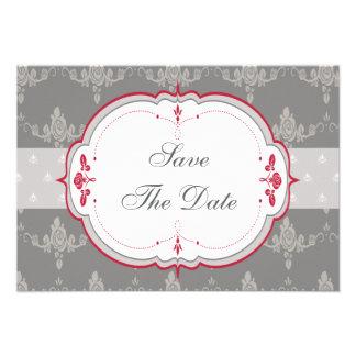 Elegant Grey Red Roses Wedding Save the Date Custom Invitation
