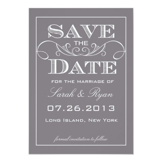 Elegant Grey Save the Date Announcement
