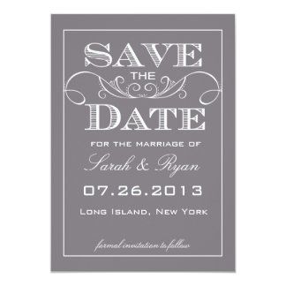 "Elegant Grey Save the Date Announcement 5"" X 7"" Invitation Card"