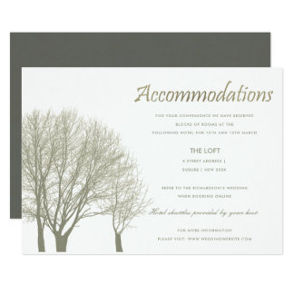 ELEGANT GREY SILVER FALL AUTUMN TREE ACCOMMODATION CARD