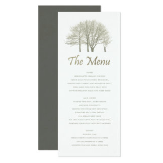 ELEGANT GREY SILVER FALL AUTUMN TREES MENU CARD