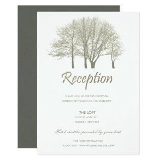 ELEGANT GREY SILVER FALL AUTUMN TREES RECEPTION CARD