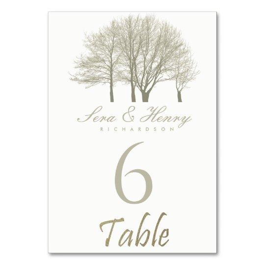 ELEGANT GREY SILVER FALL AUTUMN TREES TABLE CARD
