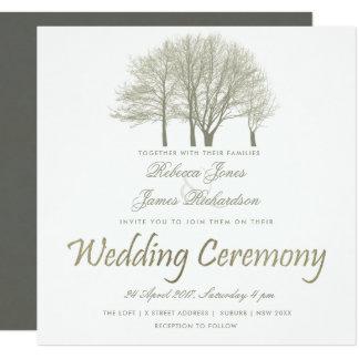 ELEGANT GREY SILVER FALL AUTUMN TREES WEDDING CARD