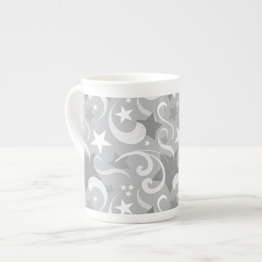 Elegant, Grey, Stars, White, Swirl, Magical, Grey Tea