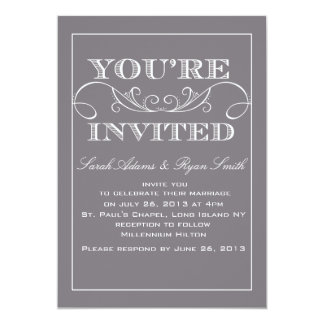 "Elegant Grey Wedding Invitation 5"" X 7"" Invitation Card"
