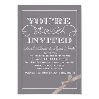 "Elegant Grey Wedding Invitation with Ribbon 5"" X 7"" Invitation Card"