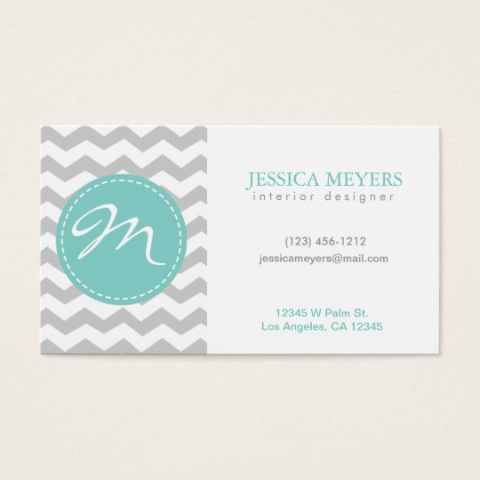 Elegant grey & white Chevron with Monogram Business