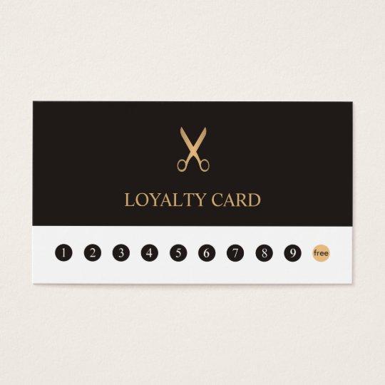 Elegant Grey White Faux Gold Scissor Loyalty Card