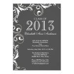 Elegant Grey White Graduation Party Invitation