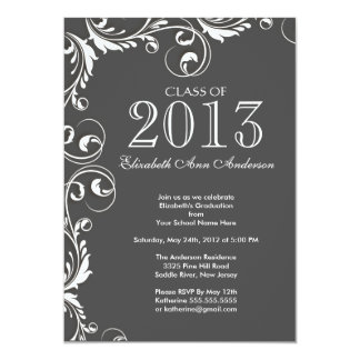 Elegant Grey White Graduation Party Invitation