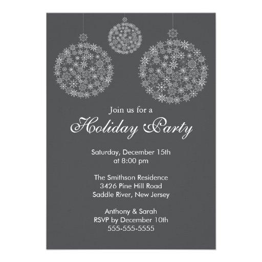 Elegant Grey & White Holiday Christmas Party Custom Invitations