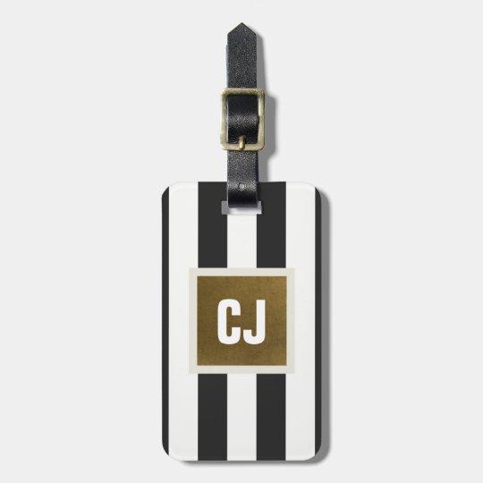 Elegant Grey White Stripes Faux Copper Monogram Luggage