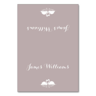 Elegant Grey White Wedding Place Cards With Swans