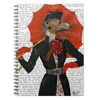 Elegant Greyhound and Red Umbrella 2 Notebook