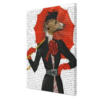 Elegant Greyhound and Red Umbrella Canvas Print